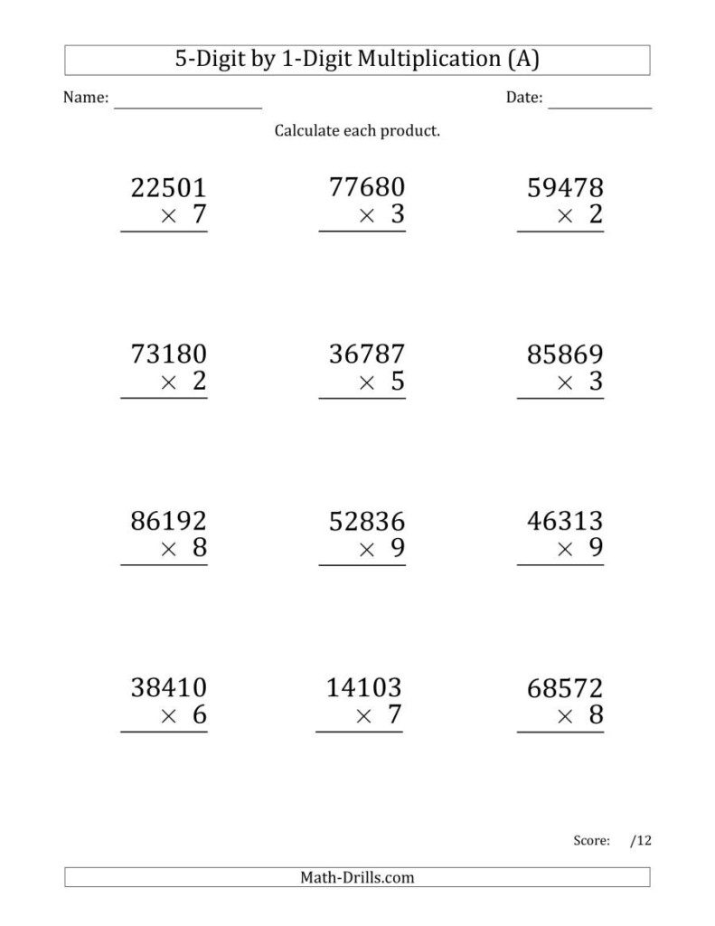 Multiplying 5 Digit1 Digit Numbers (Large Print) (A) Pertaining To Multiplication Worksheets 5 Digits