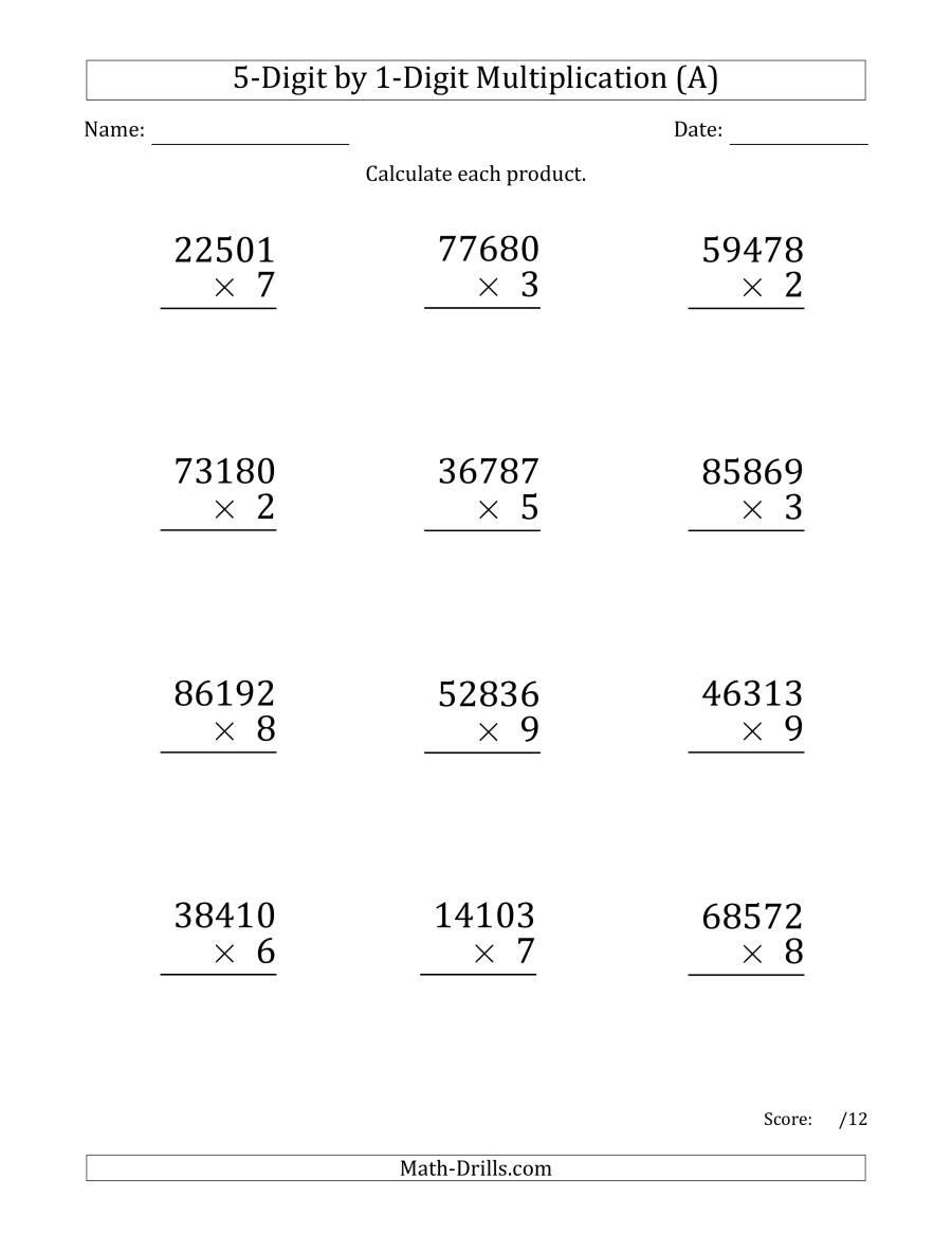 Multiplying 5-Digit1-Digit Numbers (Large Print) (A) regarding Worksheets Long Multiplication
