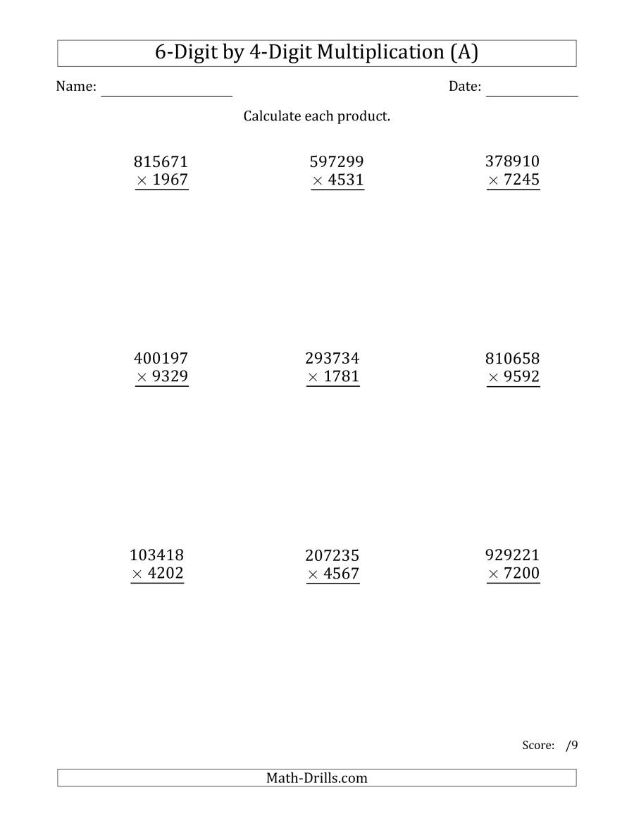 Multiplying 6-Digit4-Digit Numbers (A) intended for Multiplication Worksheets 4 And 6