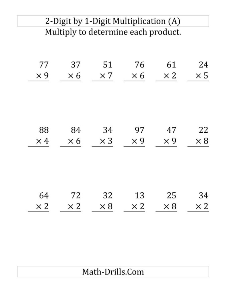 Multiplying A 2 Digit Numbera 1 Digit Number (Large Intended For Multiplication Worksheets Large Numbers