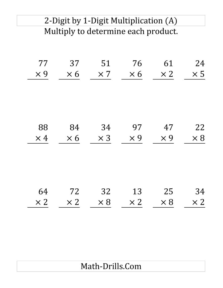 Multiplying A 2-Digit Numbera 1-Digit Number (Large intended for Multiplication Worksheets Large Numbers