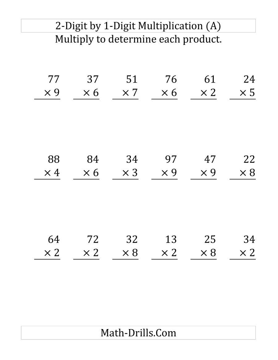Multiplying A 2-Digit Numbera 1-Digit Number (Large with Printable 2 Digit Multiplication