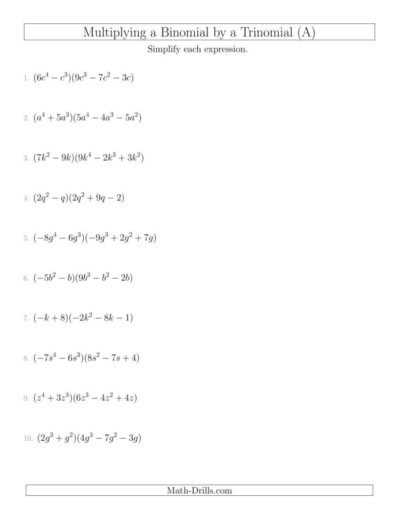Multiplying A Binomiala Trinomial (A) Inside Worksheets About Multiplication Of Polynomials