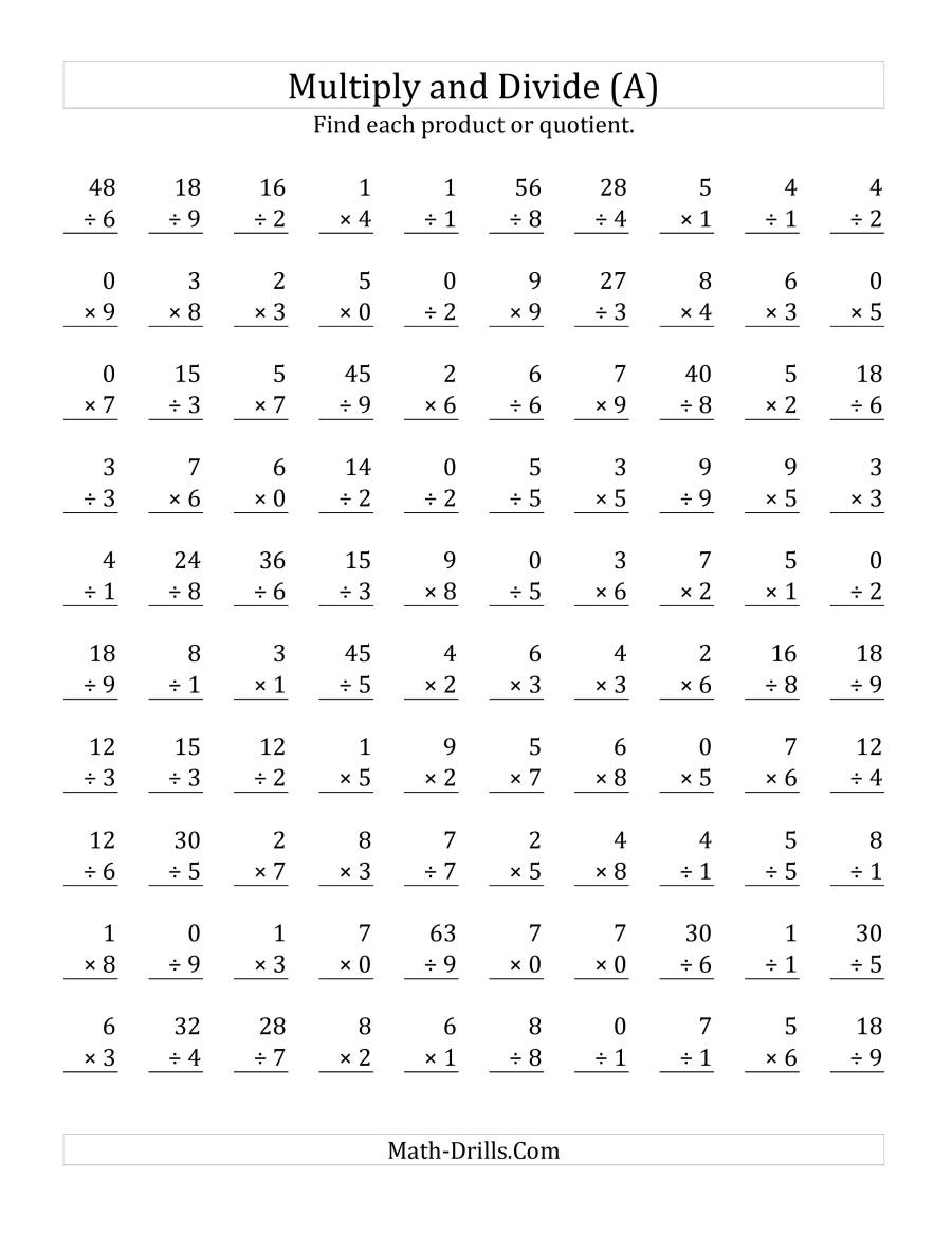 Multiplying And Dividing With Facts From 0 To 9 (A) with regard to Printable Multiplication Test 0-9