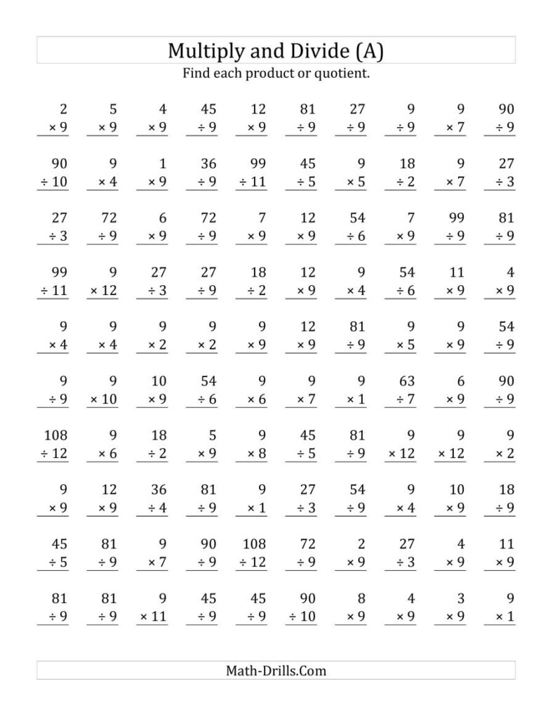 Multiplying And Dividing9 (A) With Multiplication Worksheets Mixed
