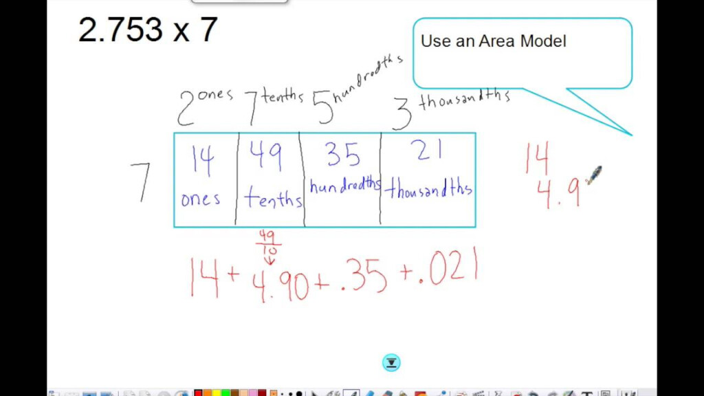 Multiplying Decimals Using An Area Model Pertaining To Multiplication Worksheets Using Area Model