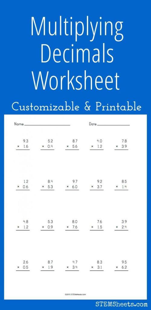 Multiplying Decimals Worksheet   Customizable And Printable For Worksheets Multiplication Decimals