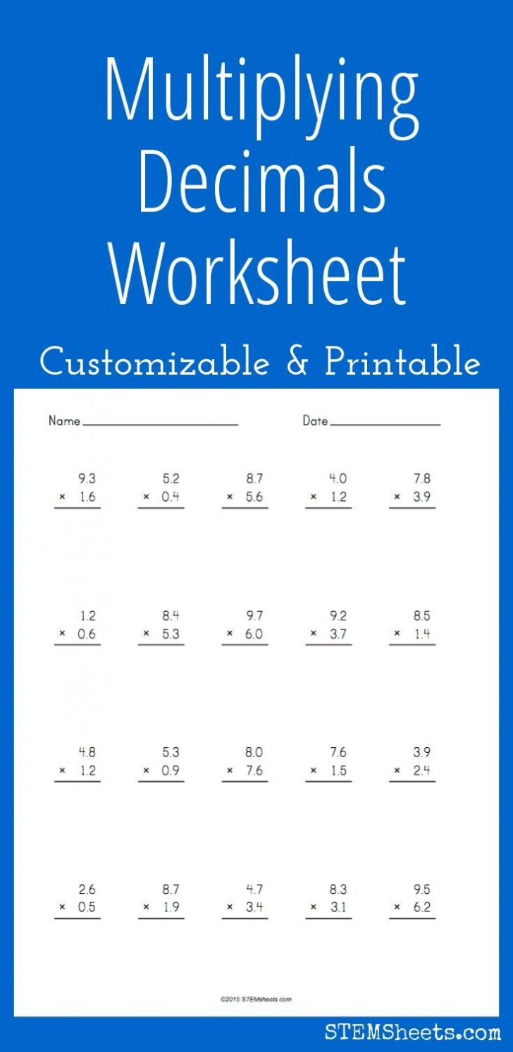Worksheets Multiplication Decimals