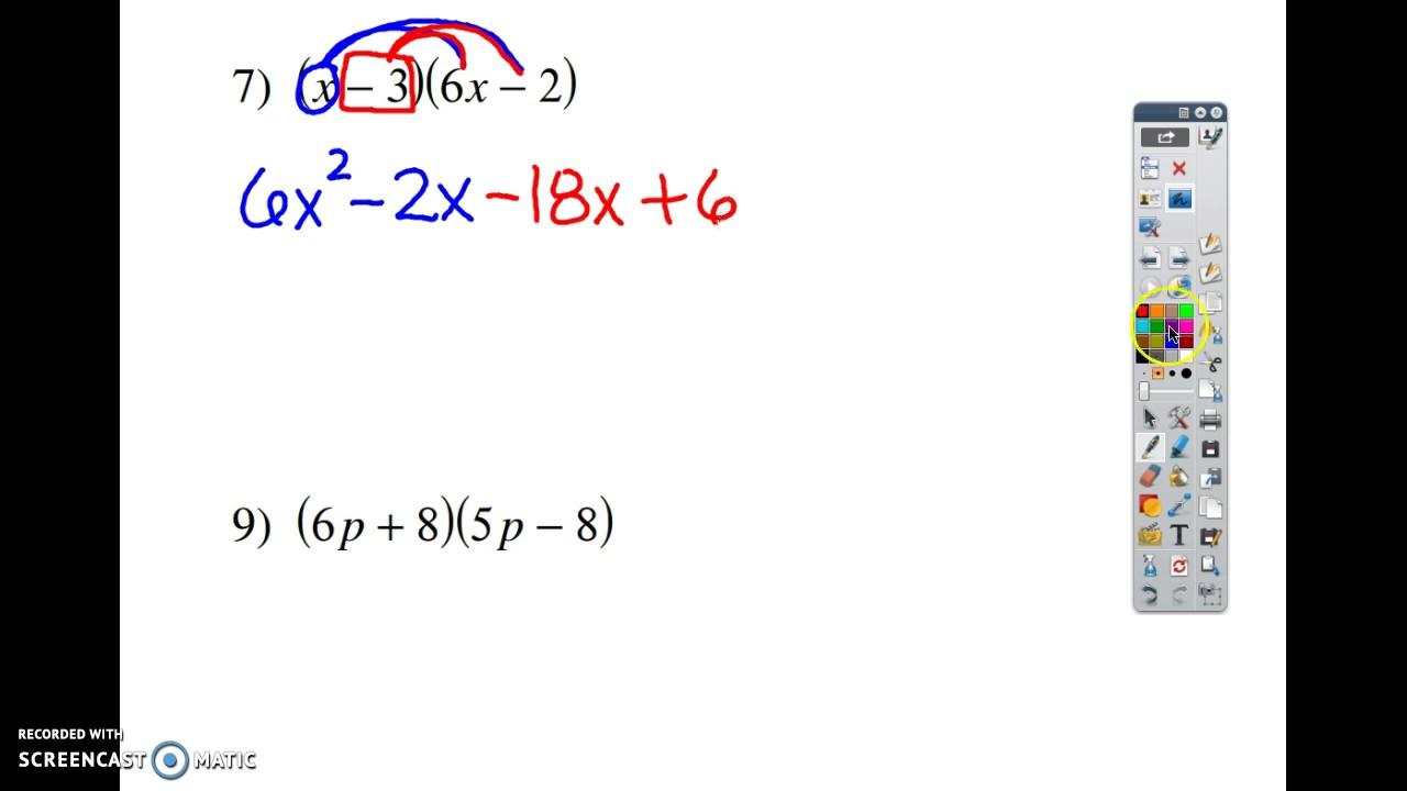 Multiplying Polynomials Kuta Worksheet #5 & 7 - Youtube inside Multiplication Worksheets Kuta