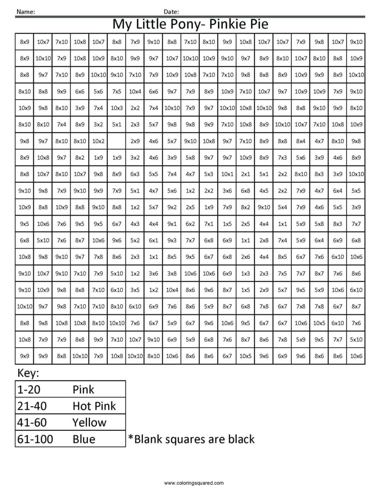 Multiplying Squares Math My Little Pony Advanced In Printable Multiplication Squares