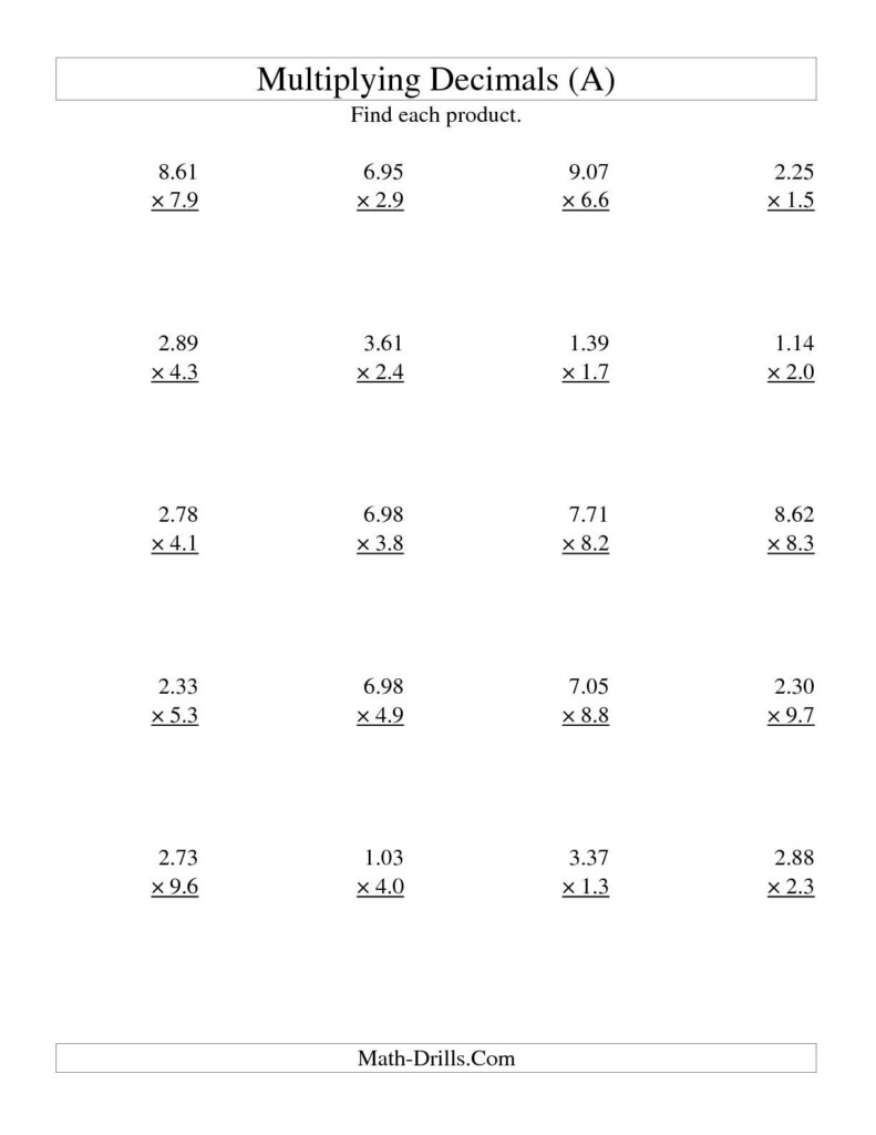 Multiplying Three Digit Hundredthstwo Digit Tenths (A In Worksheets Multiplication Decimals