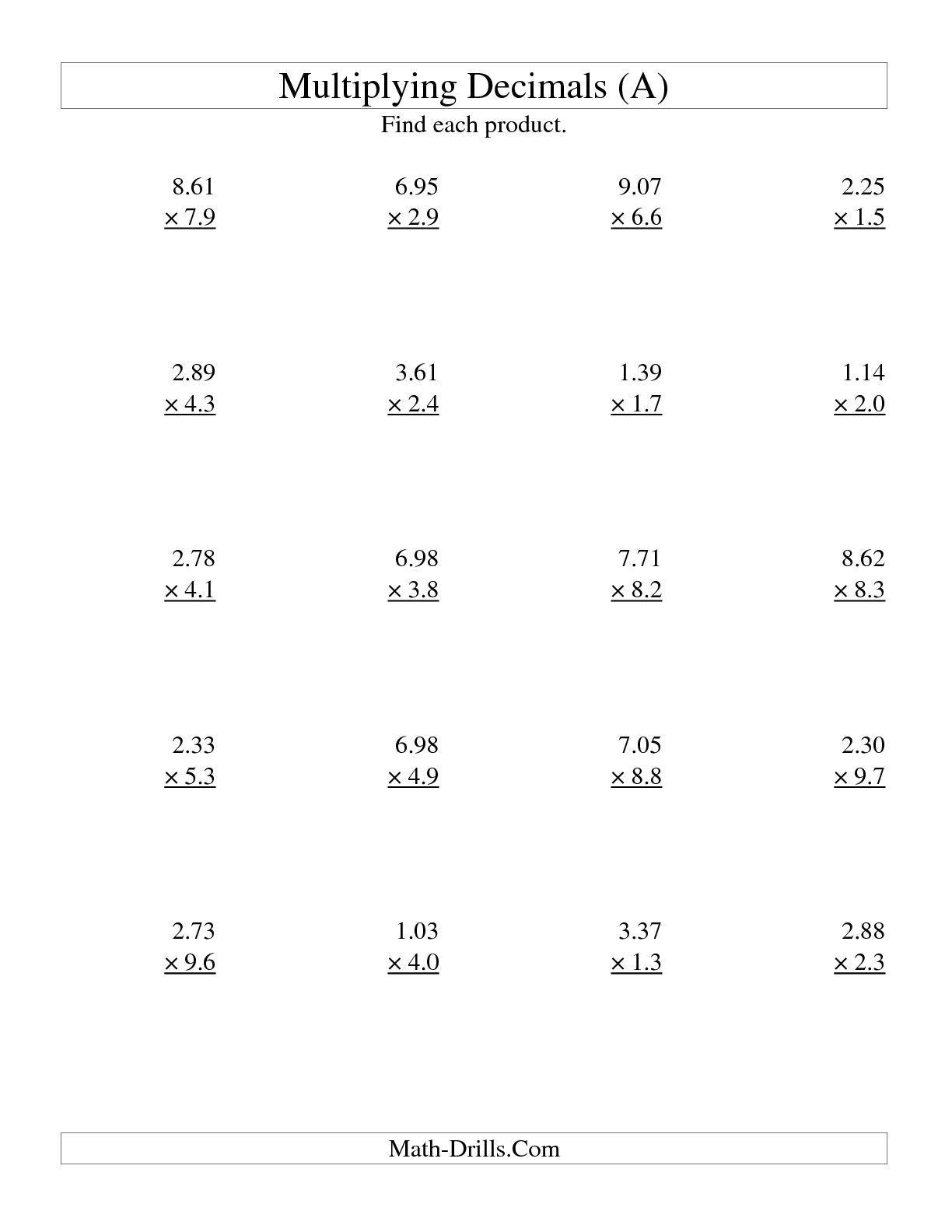 Multiplying Three-Digit Hundredthstwo-Digit Tenths (A in Worksheets Multiplication Decimals