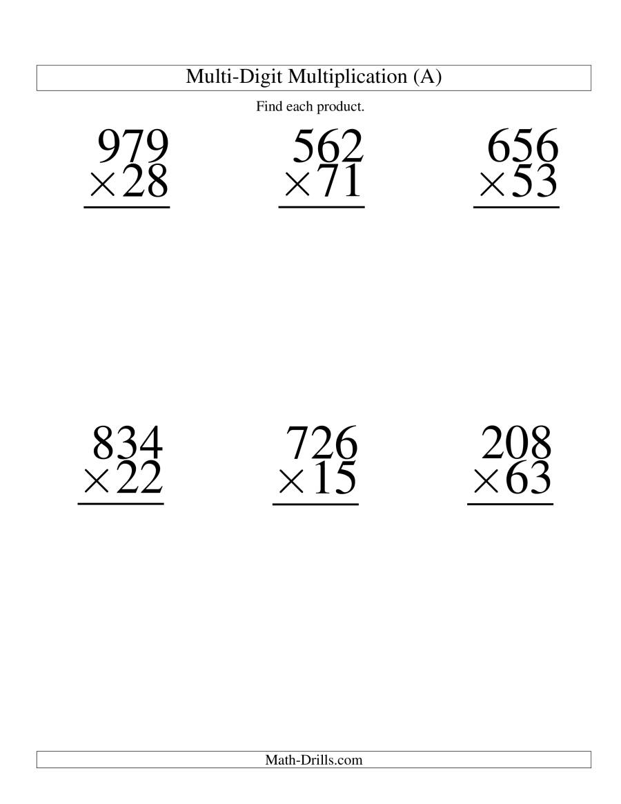 Multiplying Three-Digittwo-Digit -- 6 Per Page (A) pertaining to Multiplication Worksheets Multi Digit