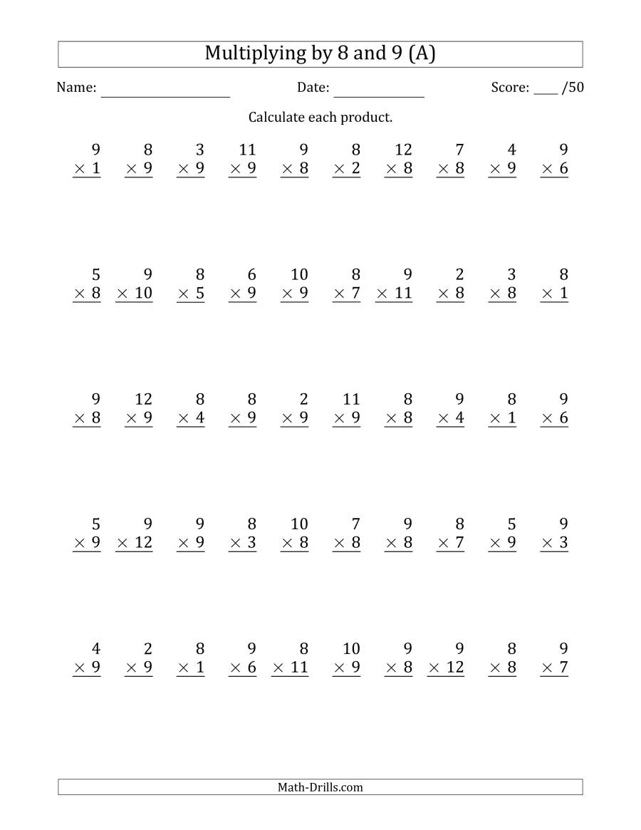 Multiplying8 And 9 With Factors 1 To 12 (50 Questions) (A) inside Multiplication Worksheets 9-12