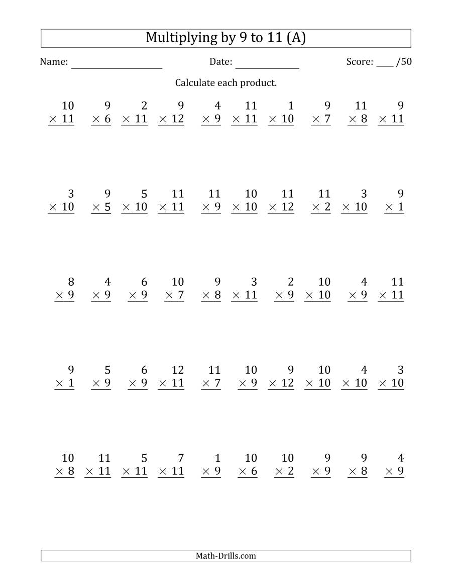 Multiplying9 To 11 With Factors 1 To 12 (50 Questions) (A) pertaining to Printable Multiplication Test 50 Questions
