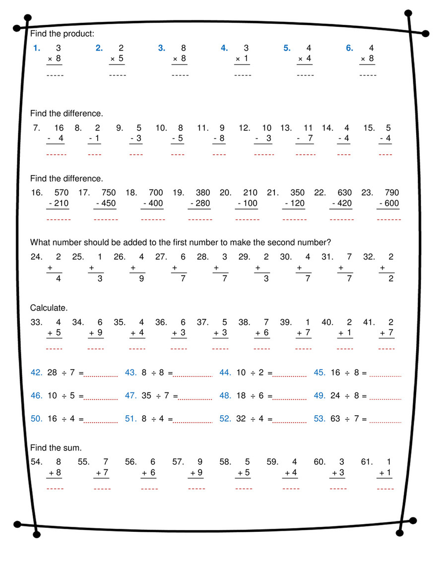 Ninalazina - Addition Subtraction Multiplication Division within Worksheets Multiplication And Division