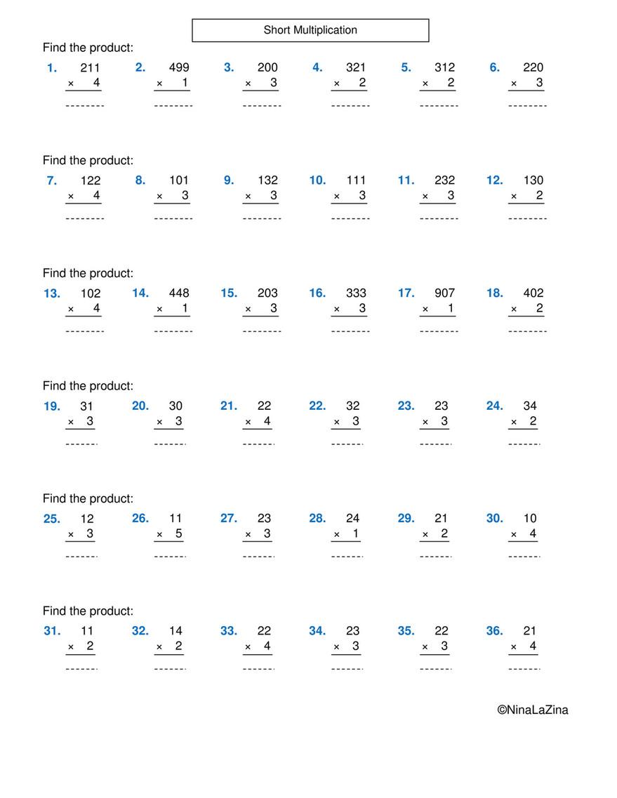 Ninalazina - Short-Multiplication-Worksheets-Year- 6 Upload within Multiplication Worksheets Key Stage 1