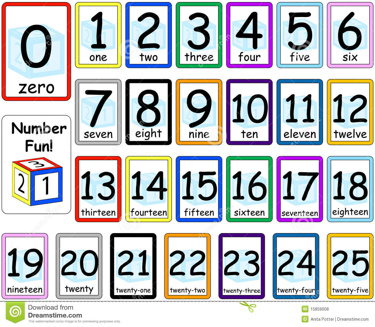 Numbers Flash Cards Set 0-25 Stock Vector - Illustration Of for Printable Multiplication Flash Cards 0-10