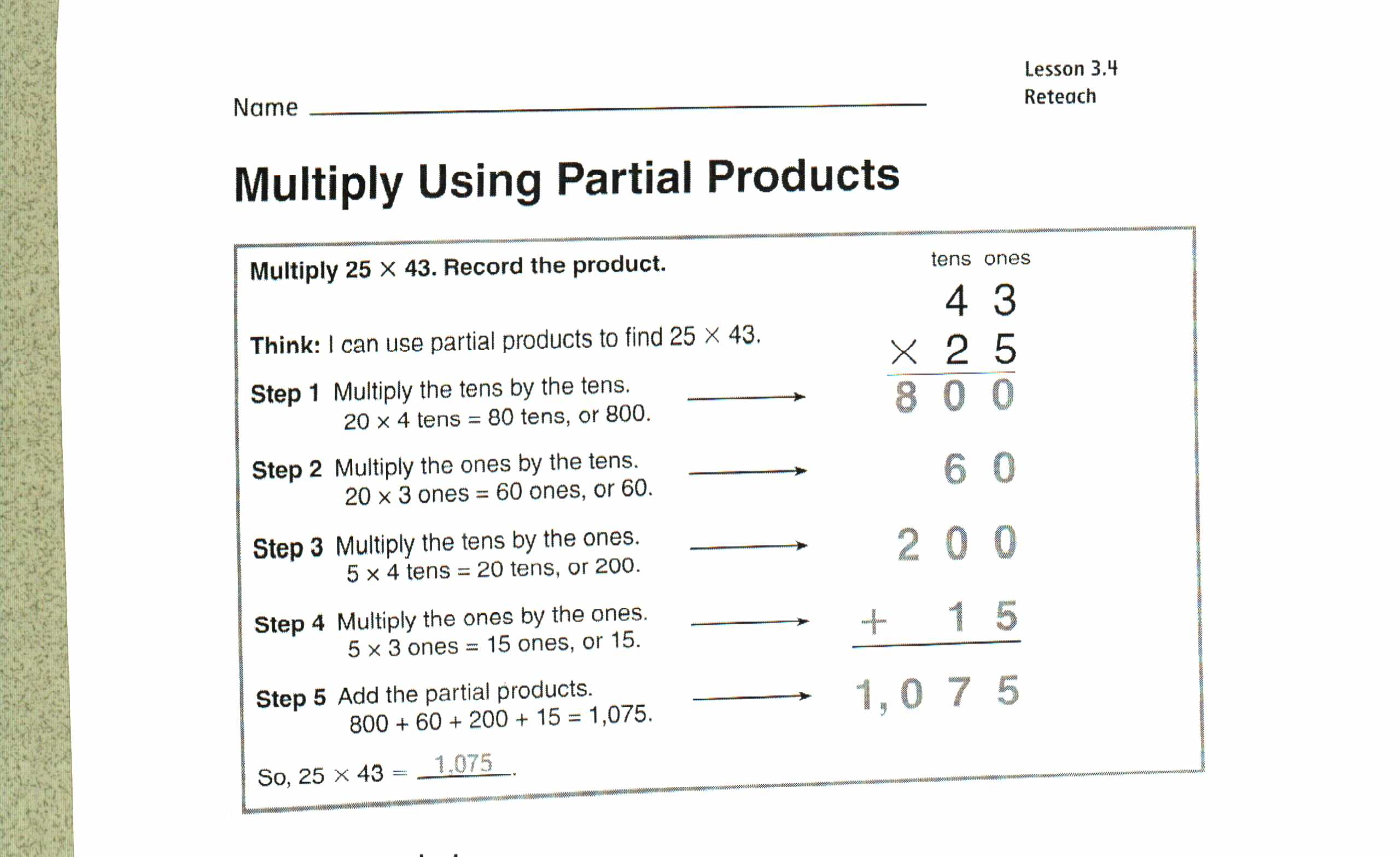 Partial Products Multiplication Worksheets & Partial inside Multiplication Worksheets Using Area Model