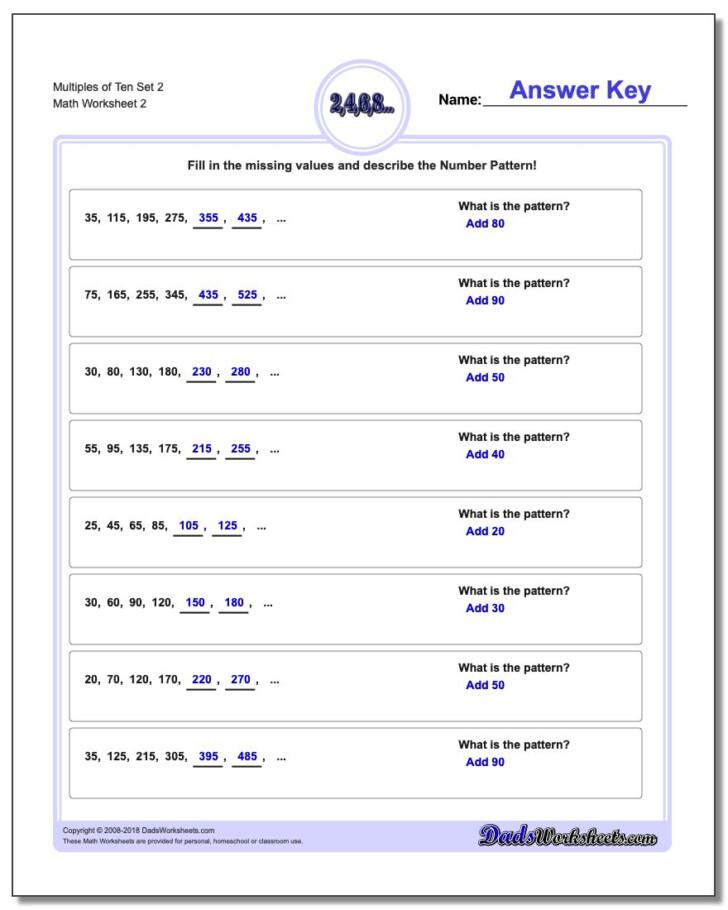 Multiplication Worksheets Multiples Of 10