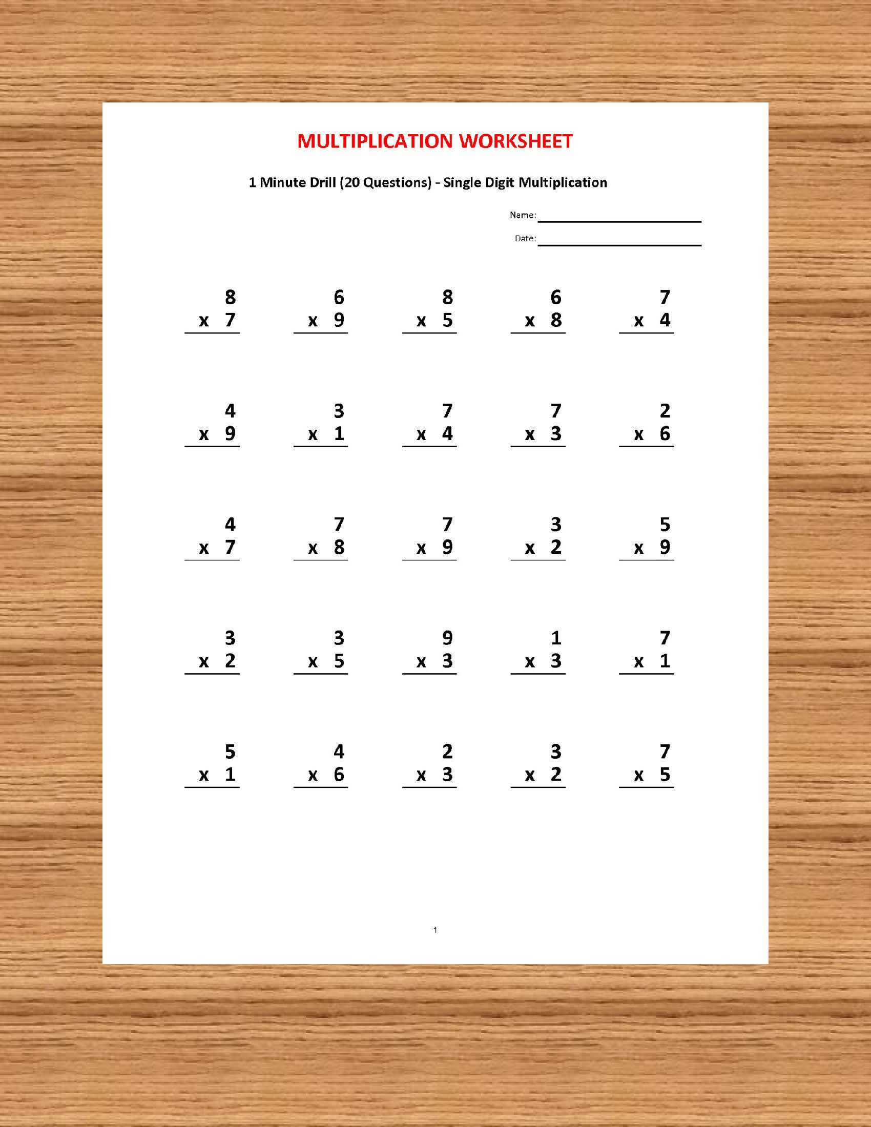 Pin On Kids for Printable 1 Minute Multiplication Drills
