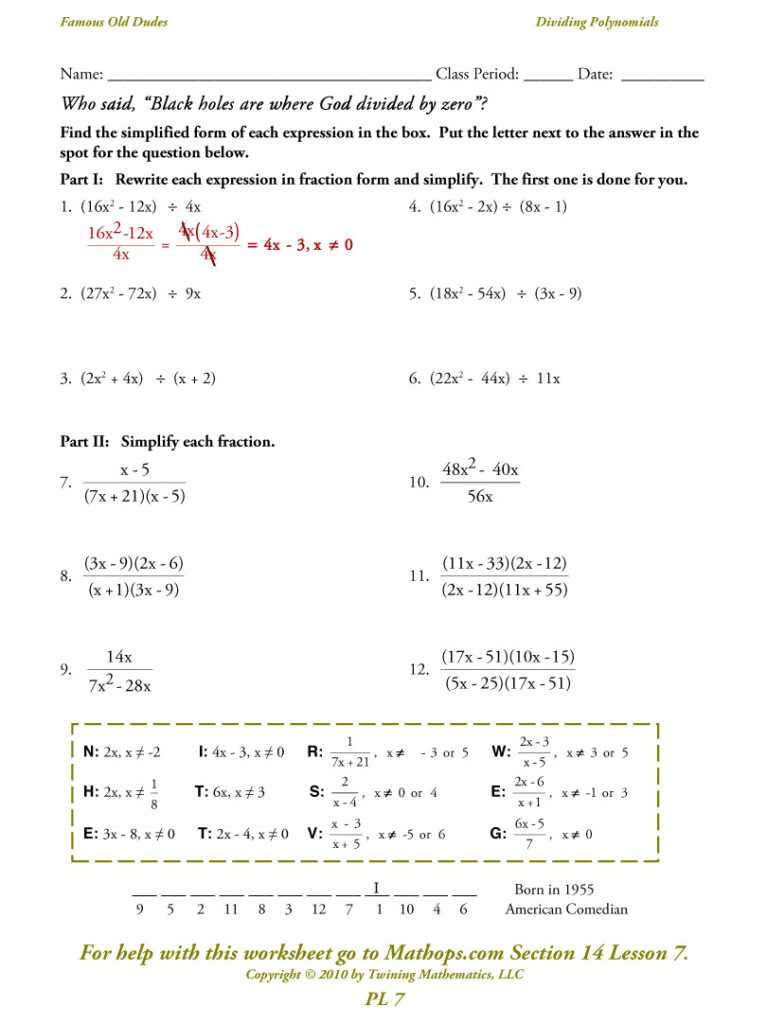 Pl 7: Dividing Polynomials   Simplifying   Mathops With Regard To Worksheets About Multiplication Of Polynomials