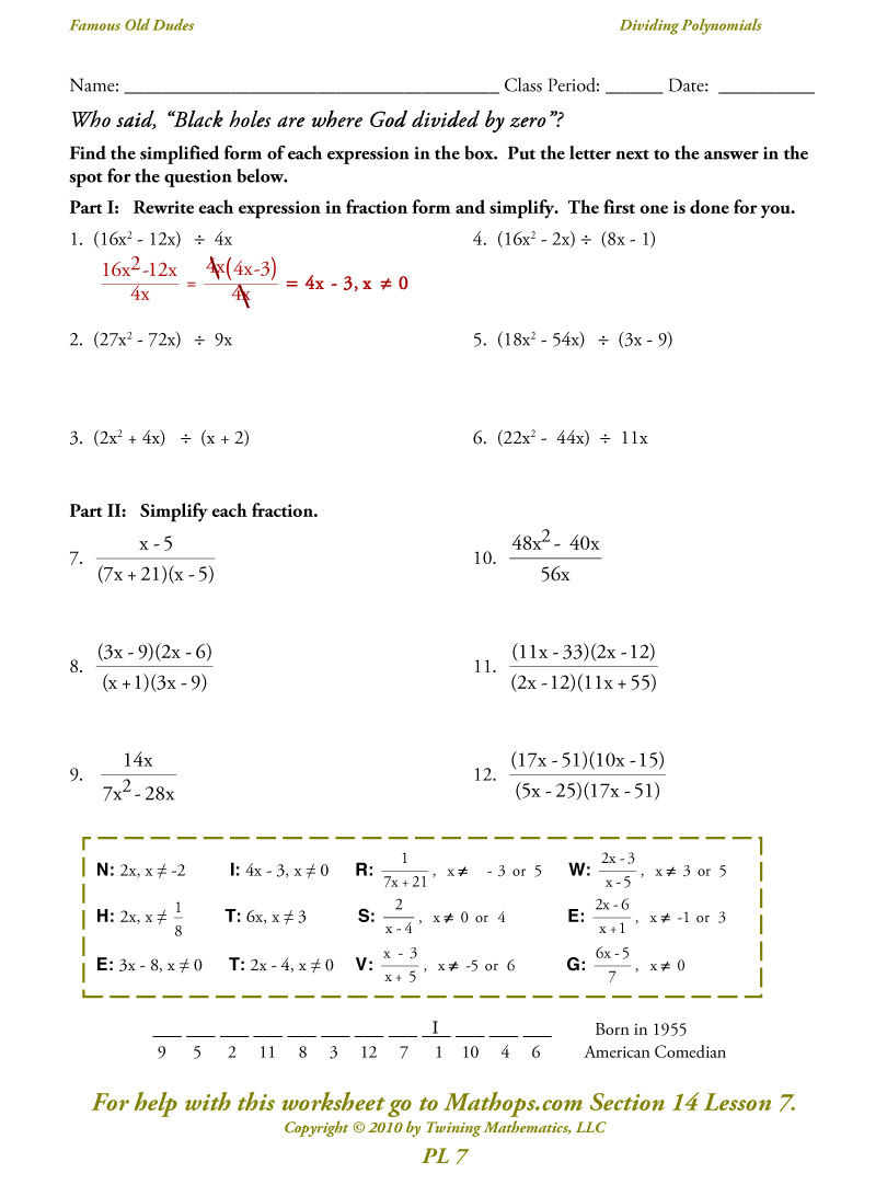 Pl 7: Dividing Polynomials - Simplifying - Mathops with regard to Worksheets About Multiplication Of Polynomials