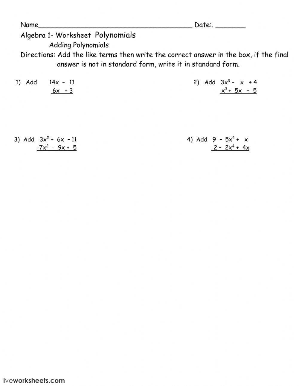 Polynomial Worksheet - Interactive Worksheet in Worksheets About Multiplication Of Polynomials