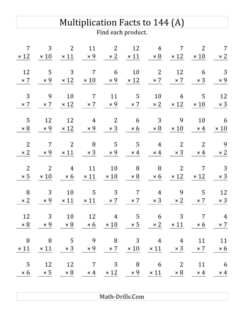Preview Image Of The Multiplication Facts To 144 No Zeros No Within Multiplication Worksheets Zero And Ones