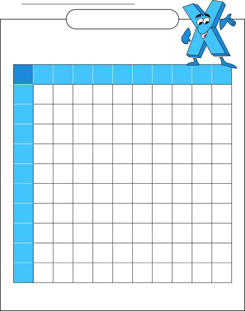 Printable Blank Multiplication Table 0-12 for Printable 10X10 Multiplication Table