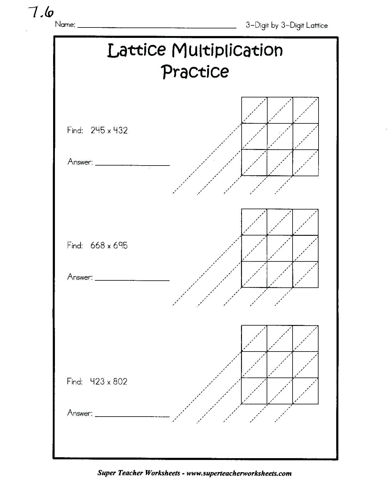 Printable Lattice Multiplication Worksheet 4Th Grade for Multiplication Worksheets Lattice