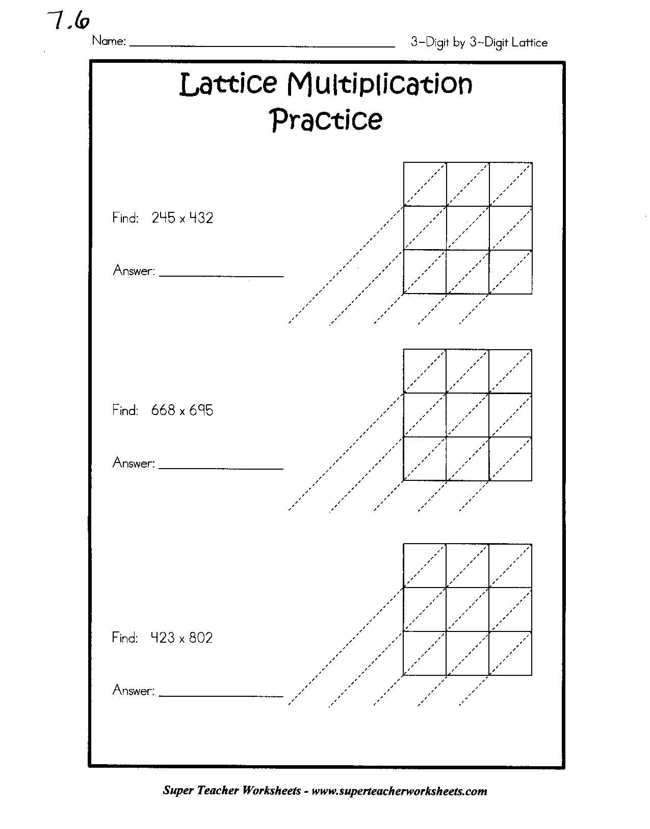 Printable Lattice Multiplication Worksheet 4Th Grade in Printable Lattice Multiplication Grids