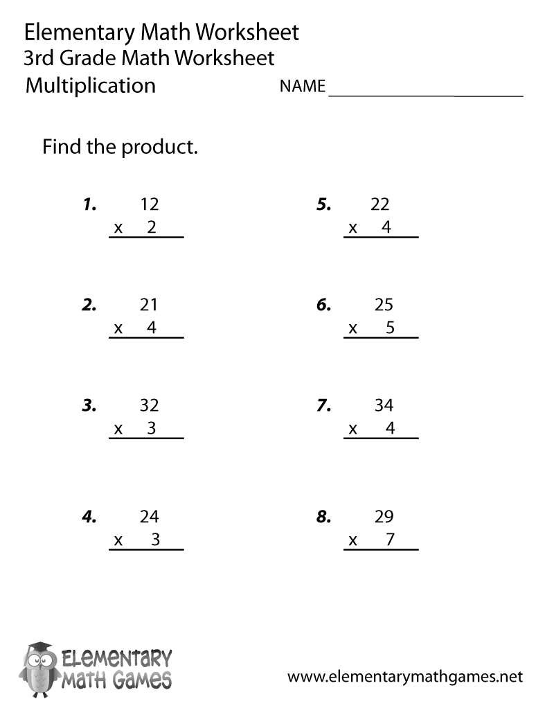 Printable Math Worksheets 3Rd Grade Multiplication – Prnt with Printable Multiplication Math Worksheets