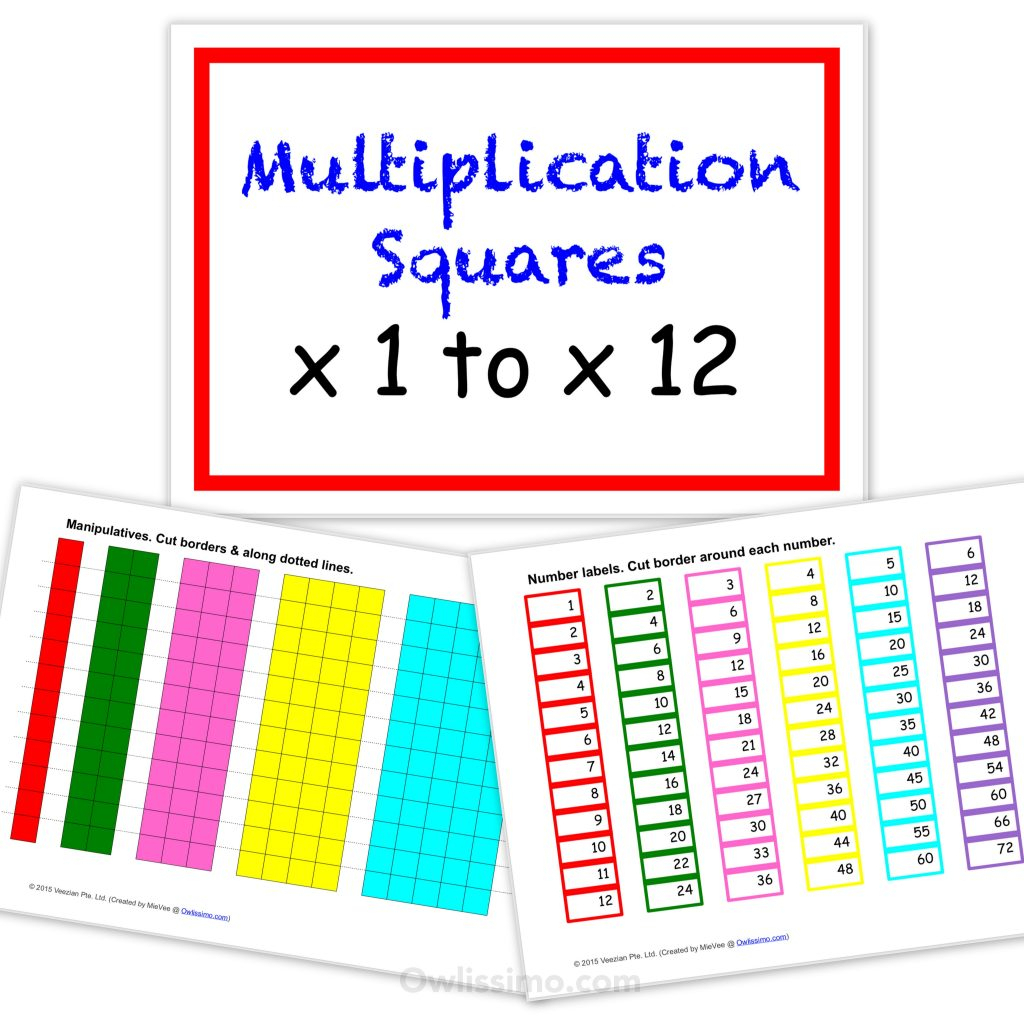 Printable Multiplication Squares in Printable Multiplication Strips