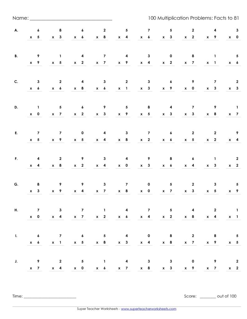 Printable Multiplication Worksheets 100 Problems For Printable Multiplication Speed Drills