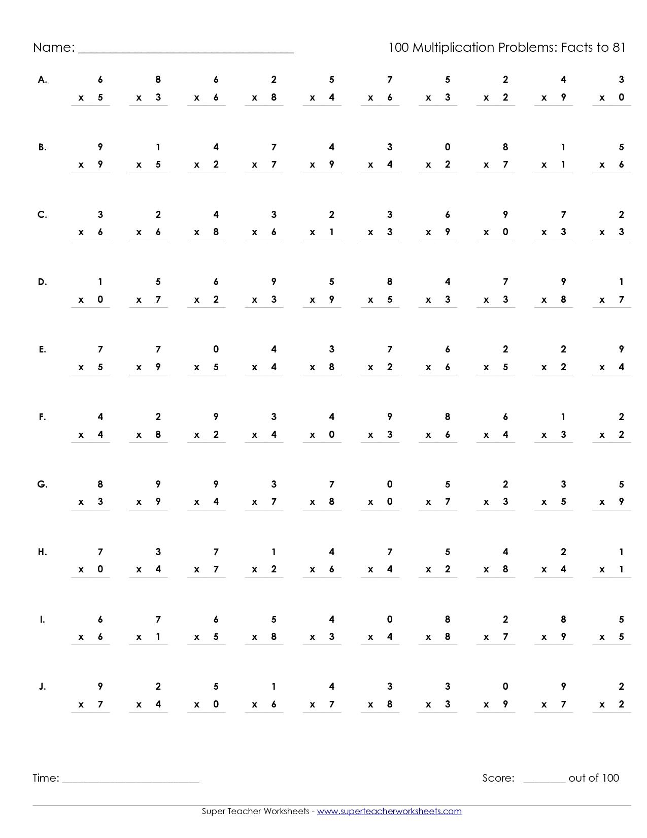 Printable Multiplication Worksheets 100 Problems intended for Printable Multiplication Practice Test