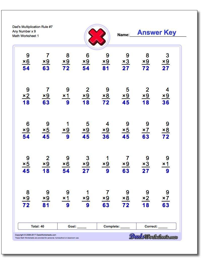 Printables Of Worksheet X9 - Kids Activities in Multiplication Worksheets X9