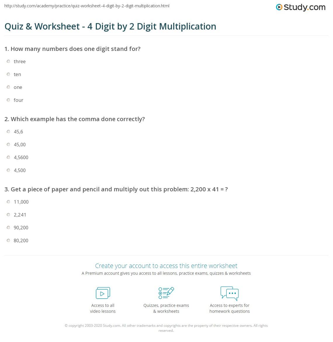 Quiz & Worksheet - 4 Digit2 Digit Multiplication | Study throughout Multiplication Worksheets 4 Digits