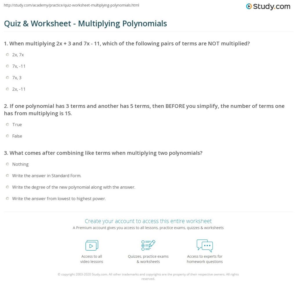 Quiz & Worksheet   Multiplying Polynomials | Study For Worksheets About Multiplication Of Polynomials