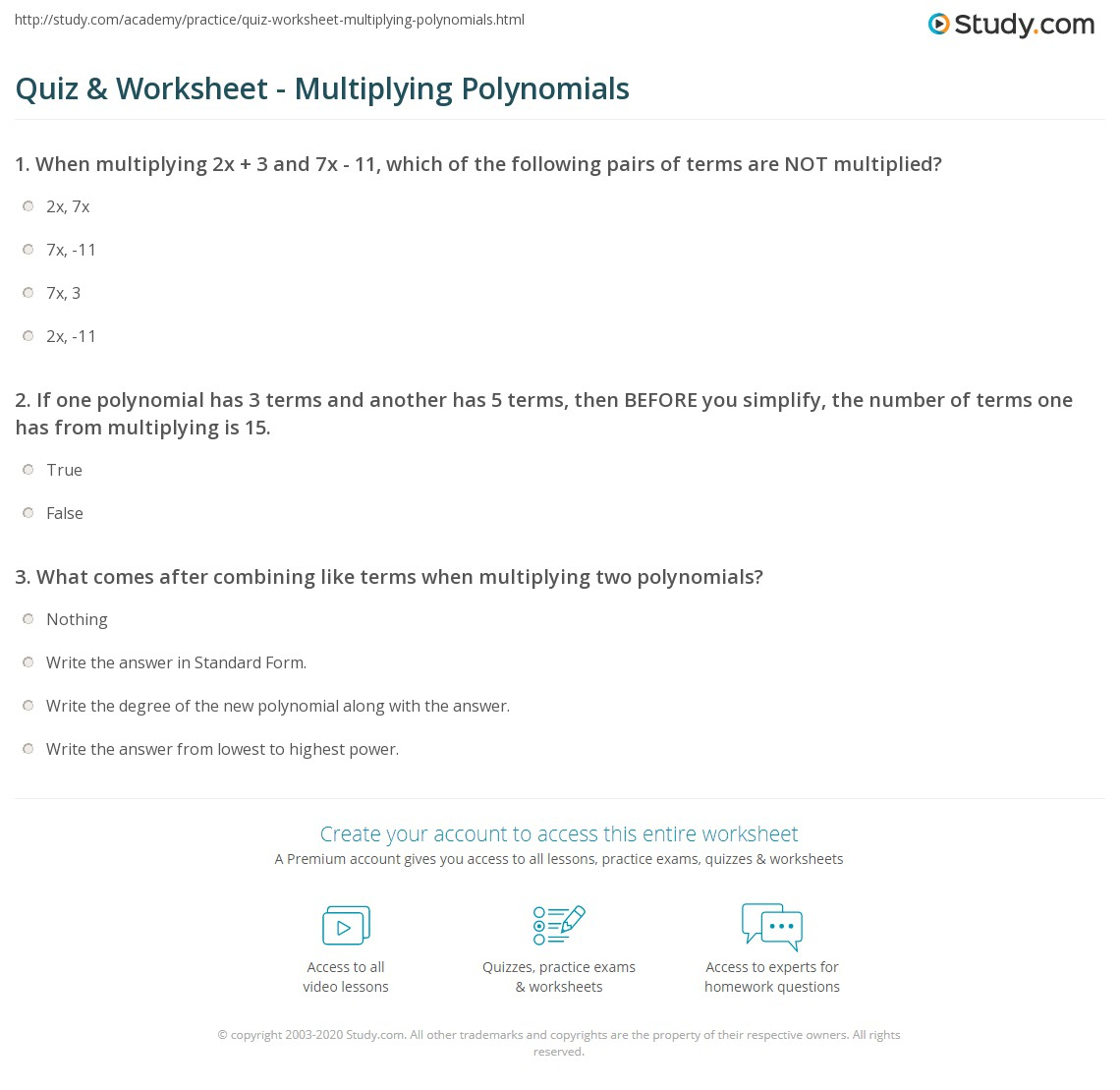 Quiz & Worksheet - Multiplying Polynomials | Study for Worksheets About Multiplication Of Polynomials