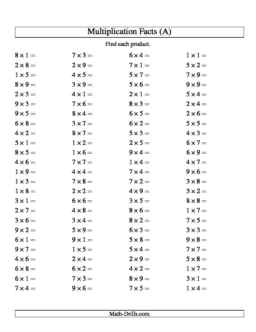 Random Multiplication Problems - Google Search inside Multiplication Worksheets Random Order