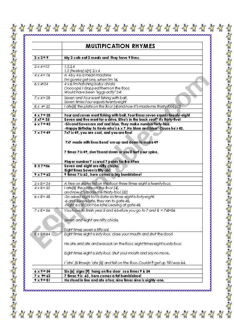 Rhymes For Teaching Multiplication - Esl Worksheetpuddyd with regard to Printable Multiplication Rhymes