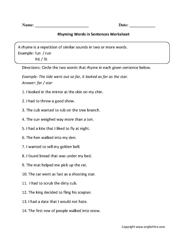 Rhyming Words In Sentences Worksheet | Rhyming Words Inside Printable Multiplication Rhymes