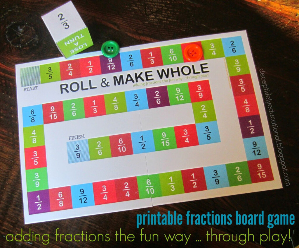 Roll And Make Whole (Adding Fractions Board Game Pertaining To Printable Multiplication Board Games For 3Rd Grade