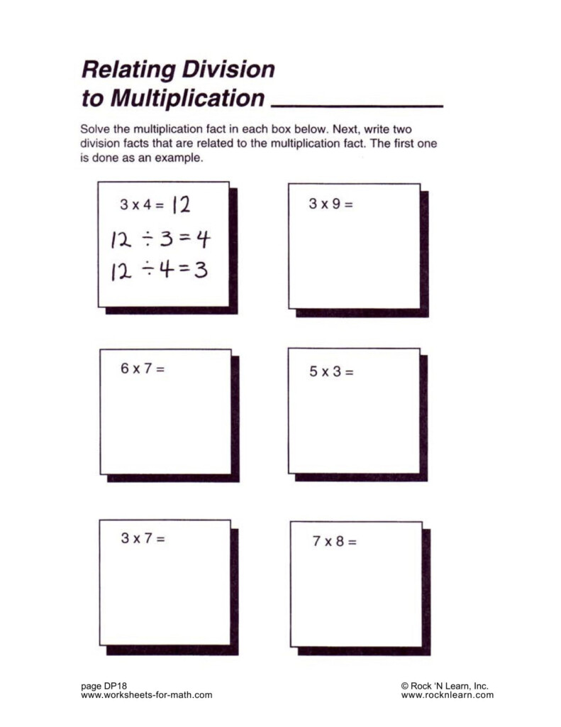 Solve The Multiplication Fact In Each Box. Next Write 2 Within Worksheets Relating Multiplication And Division