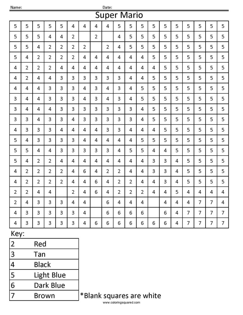 Super Mario  Colornumber | Mario Coloring Pages, Color Throughout Printable Multiplication Colouring Hidden Pictures