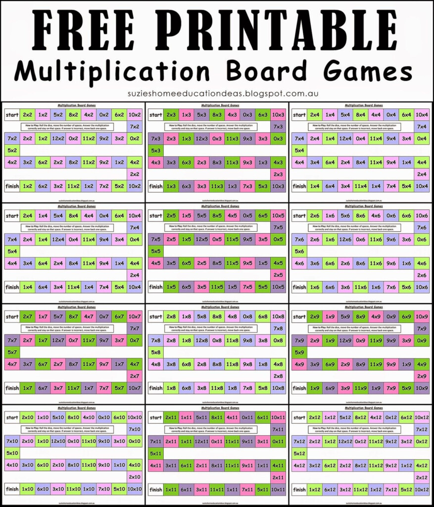 Suzie's Home Education Ideas | Multiplication, Math Board In Printable Multiplication Games