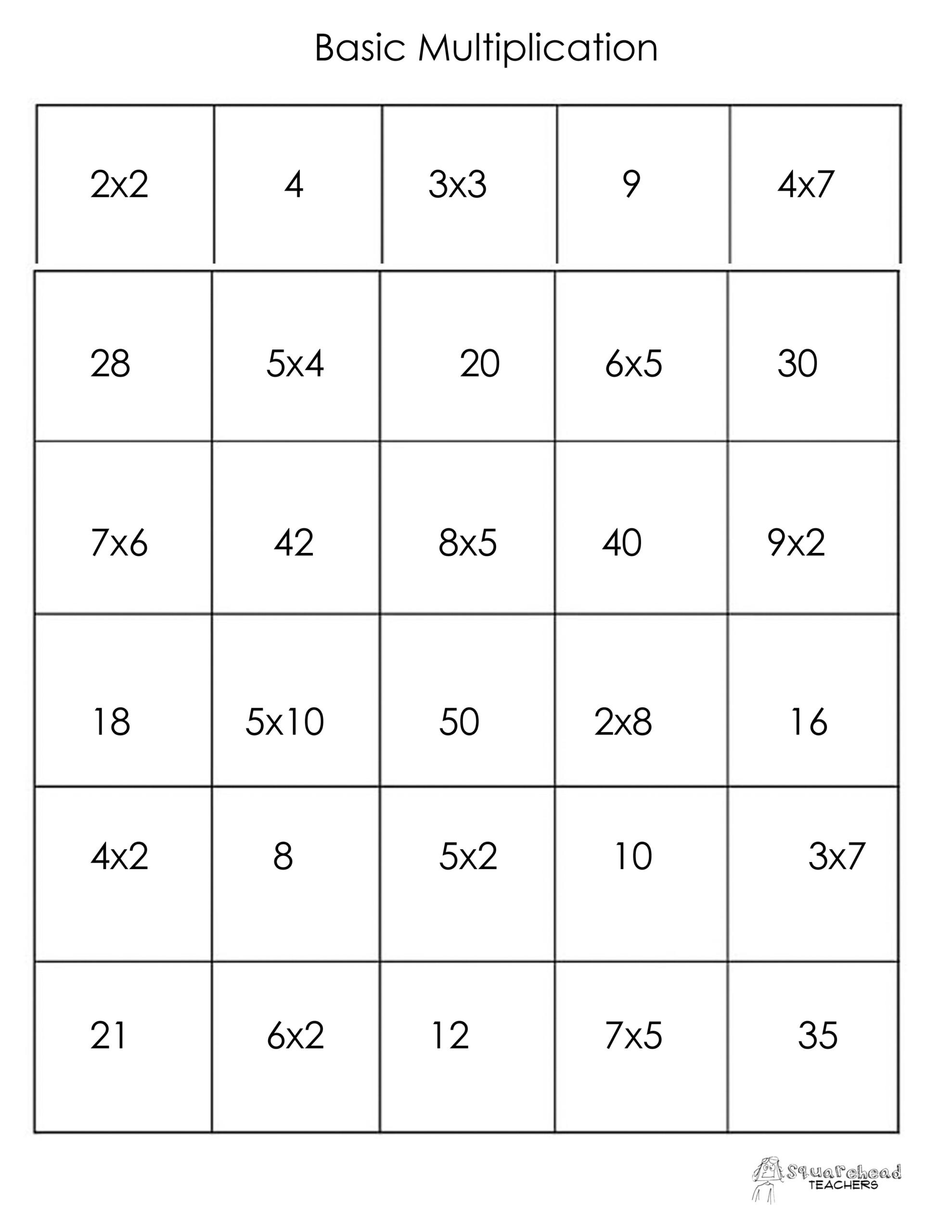 Thanksgiving Math Memory Game (Free Printable) | Squarehead in Printable Multiplication Matching Game