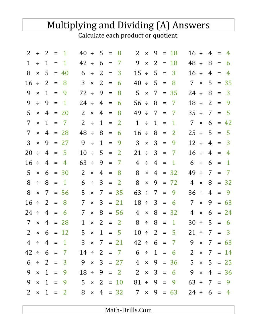 The 100 Horizontal Multiplication/division Questions (Facts in Printable Multiplication Chart 1-9