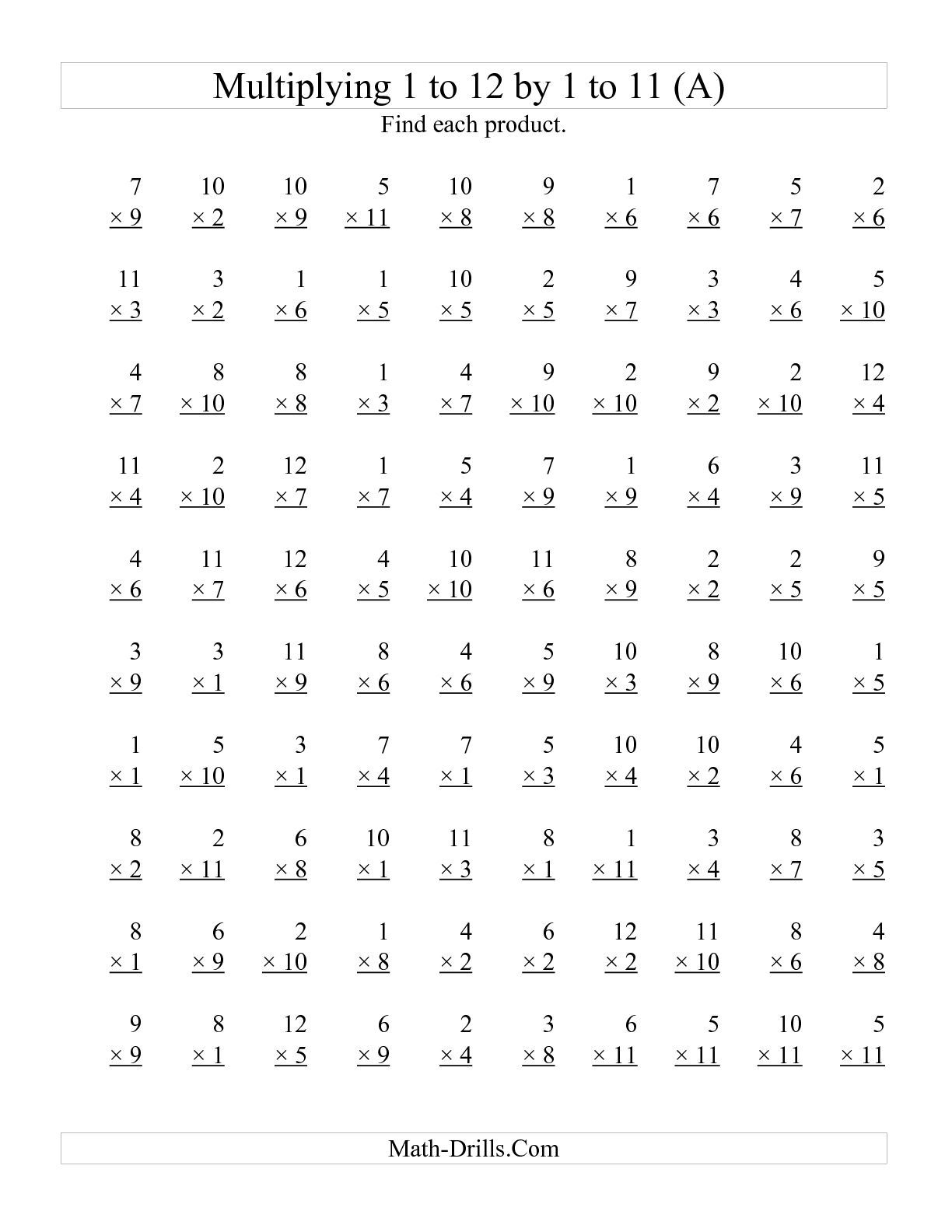The 100 Vertical Questions -- Multiplying 1 To 121 To 11 inside Multiplication Worksheets Up To 12